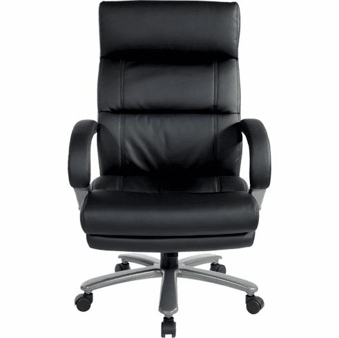 350 Lbs. Capacity Black Leather Big & Tall Chair w/ Titanium Base
