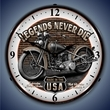Legends Never Die Motorcycle Wall Clock, LED Lighted