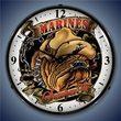 Marines Bulldog Wall Clock, LED Lighted