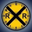 Railroad Crossing Wall Clock, LED Lighted