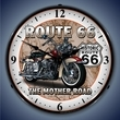 Route 66 Motorcycle Wall Clock, LED Lighted