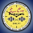 Super Comp Parking Wall Clock, LED Lighted: Racing Theme