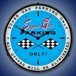 Super Gas Parking Wall Clock, LED Lighted: Racing Theme