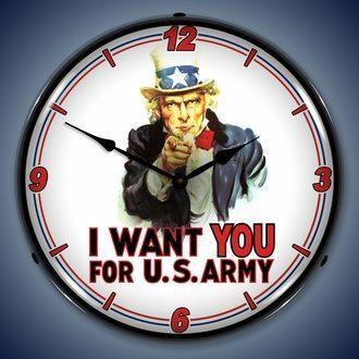 Americana and Military Wall Clocks, LED Lighted