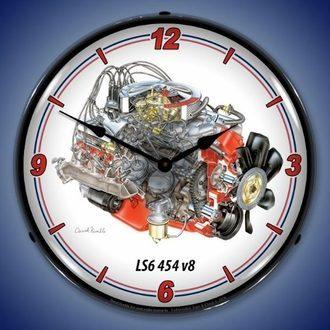 Classic V8 Engine Wall Clocks, LED Lighted