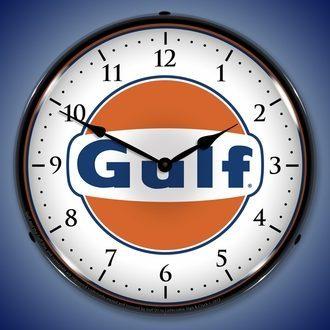 Gulf Oil Wall Clocks, LED Lighted