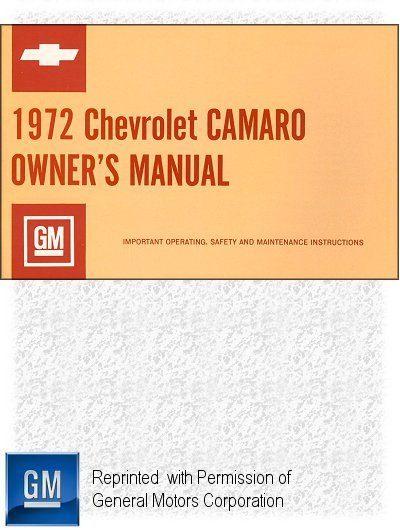 1972 Chevrolet Camaro Owner's Manual