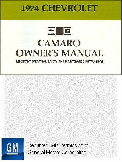 1974 Chevrolet Camaro Owner's Manual