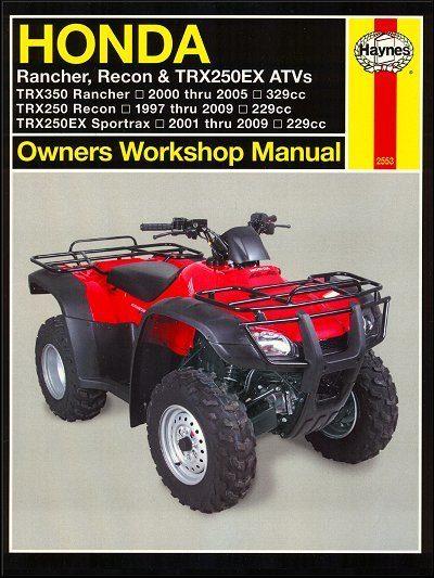 Honda TRX350 Rancher, TRX250 Recon, TRX250 Sportrax ATV Repair Manual 1997-2009