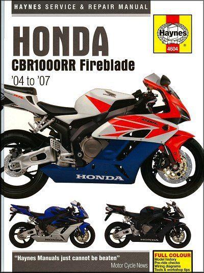 Honda CBR1000RR Fireblade Repair Manual 2004-2007