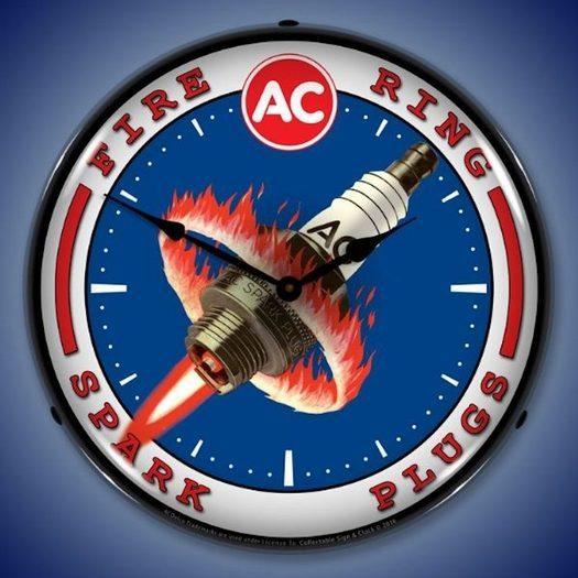 AC Spark Plugs Wall Clock, LED Lighted