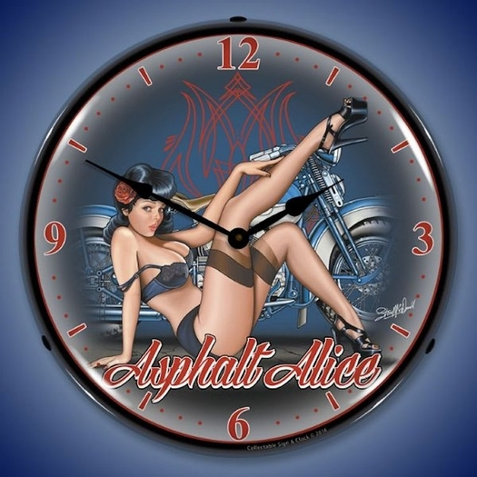 Asphalt Alice Wall Clock, LED Lighted: Motorcycle Theme