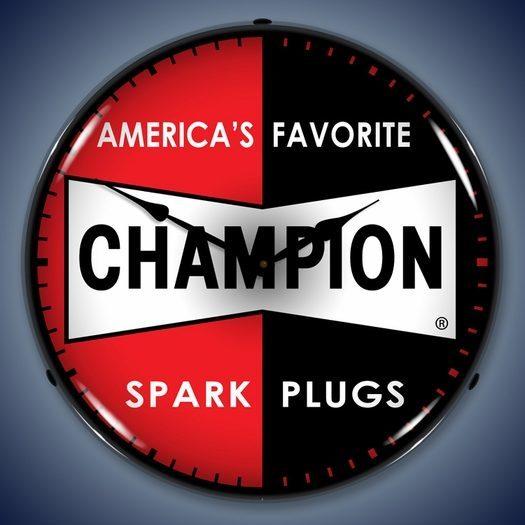 Champion Spark Plug Wall Clock, LED Lighted