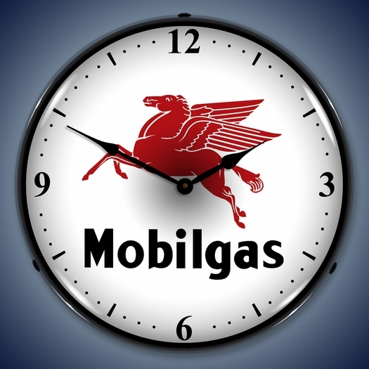 Mobilgas Wall Clock, LED Lighted: Gas / Oil Theme
