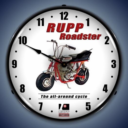 Rupp Roadster Minibike Wall Clock, LED Lighted