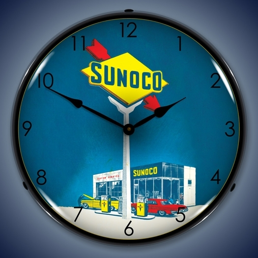 Sunoco Gas Wall Clock, LED Lighted: Gas / Oil Theme