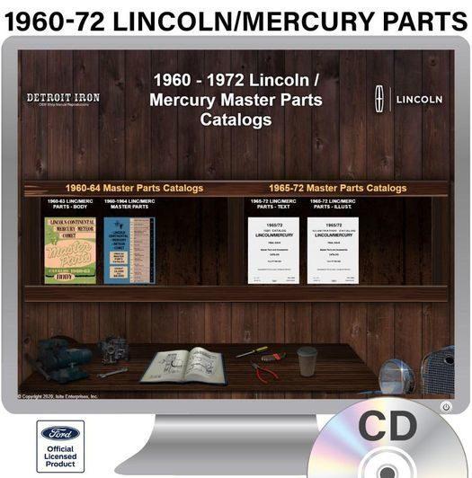 1960-1972 Lincoln / Mercury Parts OEM Manuals - CD