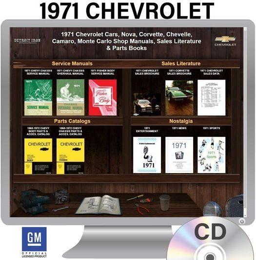 1971 Chevrolet Shop Manuals, Sales Literature & Parts Books Kit
