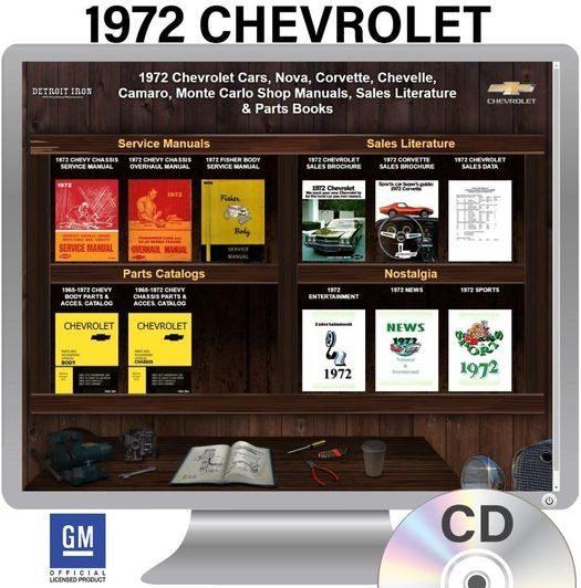 1972 Chevrolet Shop Manuals, Sales Literature & Parts Books Kit