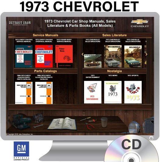 1973 Chevrolet Shop Manuals, Sales Literature & Parts Books Kit