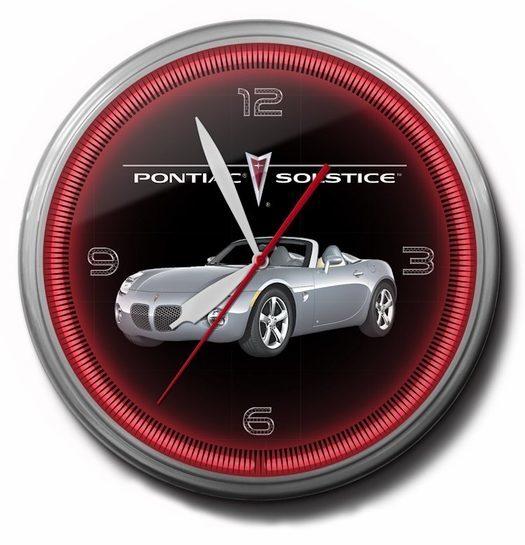 Pontiac Solstice Neon Clock (Silver), 20 Inch, High Quality