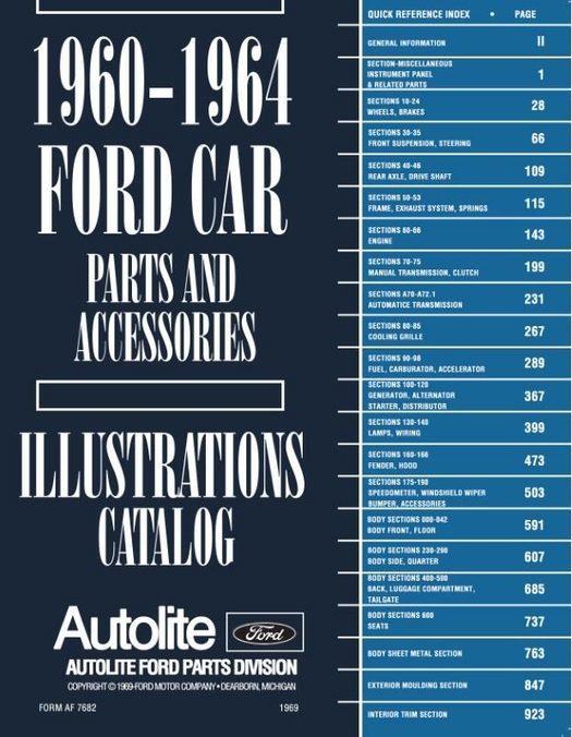 1960 - 1964 Ford Car Parts Book / Catalog
