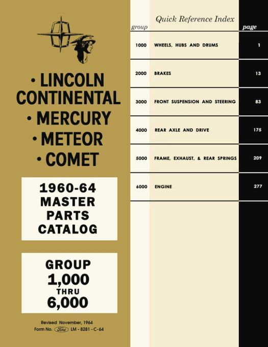 1960 - 1964 Lincoln Mercury Master Parts Catalog