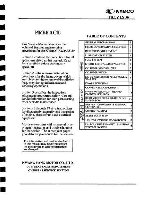 KYMCO Filly 50 Service Manual 2005-2007