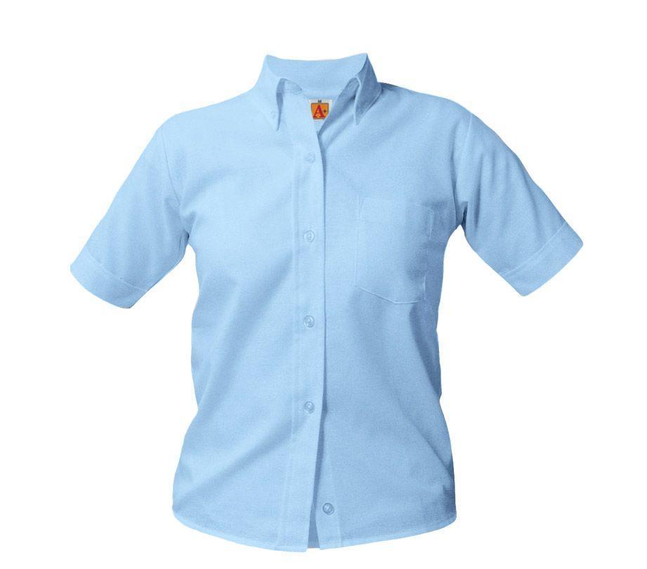 Girl's Button Down Collar Oxford Blouses:SharperUniforms.com