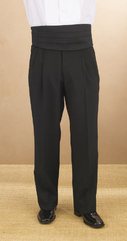 Men/'s White Polyester Non-Adjustable Tuxedo Pants