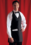V-Neck Tuxedo Apron with Center Divided Pocket