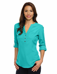 Ladies Server Fitted Y-Neck Roll-Up Stretch Blouse
