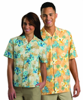 Tropical Restaurant Unisex Hibiscus Camp Shirt