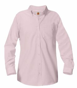Girls' Button Down Collar Long Sleeve Oxford School Uniform Blouses