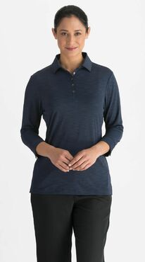 Ladies Country Club Heather Three Tone Comfy Polo (3/4 Sleeve Polo)