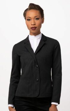 Ladies Hotel Banquet Banded Notched Collar Jacket