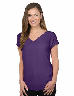 Ladies Hotel Short Sleeve V-Neck Blouse