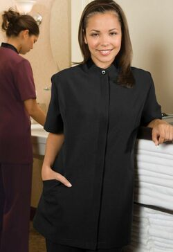 Ladies Housekeeping Polyester Solid Color Tunic