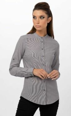 Ladies Restaurant Banded Collar Three Quarter Sleeve Blouse