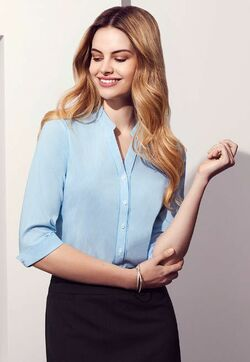 Ladies Restaurant Semi-Fitted 3/4 Sleeve Blouse