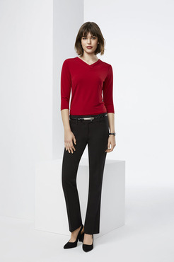 Ladies Restaurant V-Neck Jersey Knit Shirt