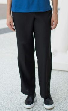 Ladies Solid Polyester Elastic Waist Pant