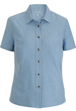 Ladies Ultra-Light Heathered Chambray Shirt