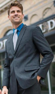 Men's Two Button Single Vent Poly/Wool Suit Jacket