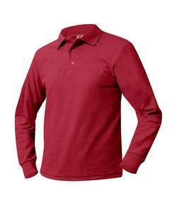 Unisex Ribbed Cuff Long Sleeve Pique Knit School Shirt