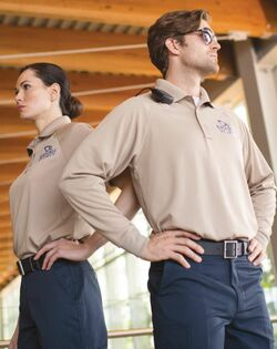 Unisex Security Tactical Snag Proof Wicking Long Sleeve Polo Shirt