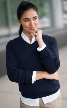 Unisex V-Neck 100% Acrylic Low-Pill Sweater