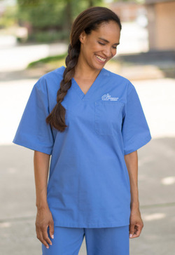 Unisex V-Neck One Pocket Wrinkle Resistant Scrub Top