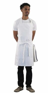 White Cotton Denim Bib Apron with Pockets