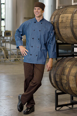 100% Cotton Chambray Chef Coat with 10 Black Buttons